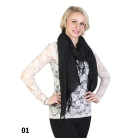 GRAND INT'L BLACK FRINGE SCARF
