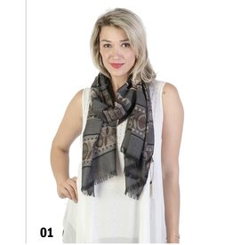 GRAND INT'L ABSTRACT TWO-TONE SCARF w/FRINGE