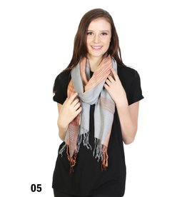 GRAND INT'L PLAID CHECK PRINT SCARF - GREY