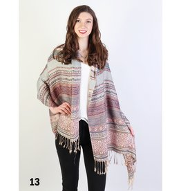 GRAND INT'L TRIBAL PATTERN FRINGE PASHMINA