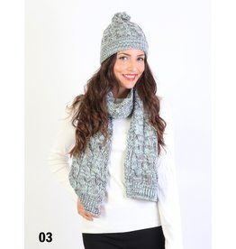 GRAND INT'L CABLE KNIT TOQUE/SCARF SET