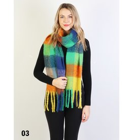 GRAND INT'L PLUSH SPECKLED CHECKER SCARF w/LONG FRINGE