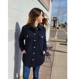 RD STYLE WOVEN BUTTON FRONT SHIRT COAT - NAVY