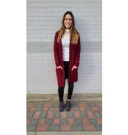 PAPA BOUCLE KNIT CARDIGAN RED