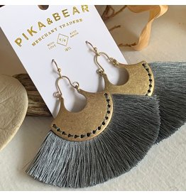 PIKA & BEAR GAELA FAN DROP EARRINGS- SHADOW