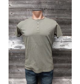 HEDGE MENS SHORT SLEEVE GREEN HENLEY TOP