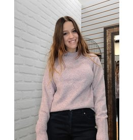 POINT ZERO PINK FUNNEL NECK RIB SWEATER