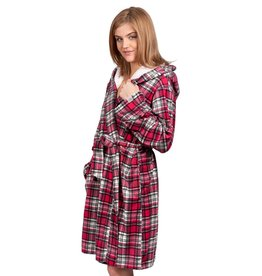 COFFEE SHOPPE RED TARTAN MICROPOLAR ROBE