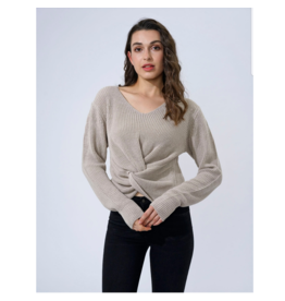 EN/KAY KNOT FRONT LIGHT SWEATER