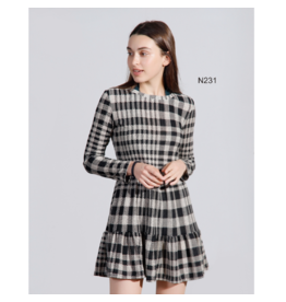 EN/KAY CHECK PRINT TUNIC DRESS