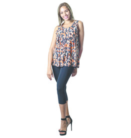 PAPA SWING SLVLESS PEACH FLORAL TOP