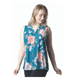 PAPA V-NECK SLVLESS TEAL PRINT TOP