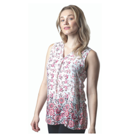PAPA V-NECK SLVLESS PINK FLORAL TOP