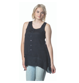 PAPA SLVLESS LINEN BLACK TOP