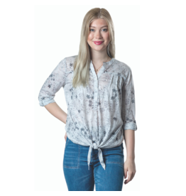 PAPA 3/4 SLV BUTTON FRONT TIE GREY TOP