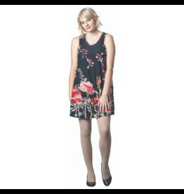 PAPA SLVLESS SHIFT  BLACK PRINT DRESS