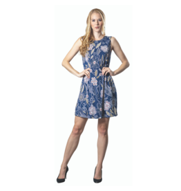PAPA SLVLESS SHIFT  ZIP BACK NAVY PRINT DRESS