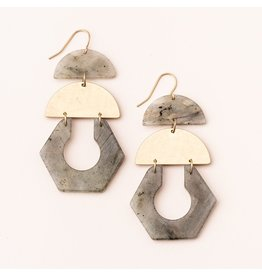 SCOUT STONE CUTOUT EARRINGS LABRADORITE/SILVER