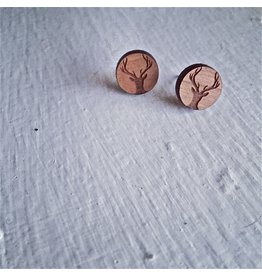 PIKA & BEAR WAPITI CHERRYWOOD ANTLER EARRINGS