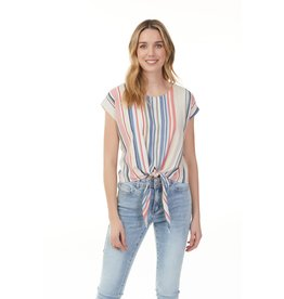 CHARLIE B STRIPE PRINTED BLOUSE w/KNOT