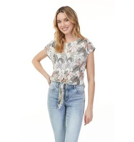 CHARLIE B TROPICAL BLOUSE w/TIE FRONT