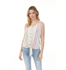 CHARLIE B LINEN YARN DYED KNOT FRONT TOP