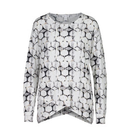 TRIBAL L/S TOP W/ ASYMETRICAL HEM
