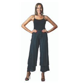 PAPA BLACK PALAZZO PANT w/BUTTON DETAIL