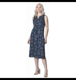 EN/KAY BUTTON FRONT BLUE LONG DRESS