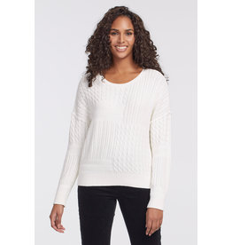 TRIBAL MIX CABLE WHITE SWEATER