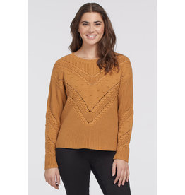 TRIBAL CREW NECK CABLE SWEATER- OCHRE