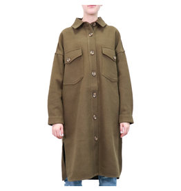 RD STYLE LONG COLLARED SOLID SHACKET - OLIVE
