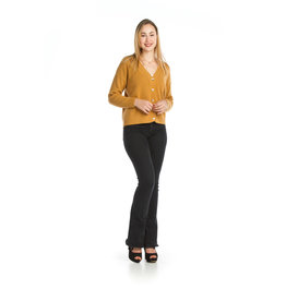 PAPILLON MUSTARD RIBBED BUTTON  FRONT CARDIGAN