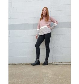 MOTION DUSTY PINK COLOR BLOCK SWEATER