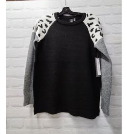MOTION ROUND NECK SWEATER w/COLOR BLOCK CHEETAH