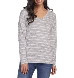 TRIBAL DROP SHOULDER STRIPED MULBERRY TOP