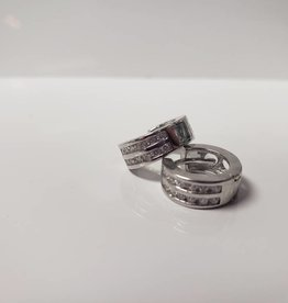 STERLING SILVER DBL ROW CZ HUGGIE EARRINGS