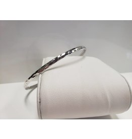 """STERLING SILVER HAMMERED BANGLE -2.5""""dia"""