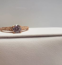 STERLING  ROSE GOLD CZ RING SZ 8..5