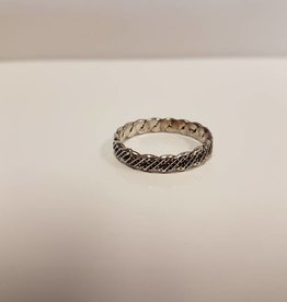 STERLING SILVER TWISTED BAND w/BLACK