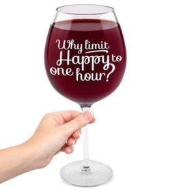 BIG MOUTH HAPPY HOUR WINE GLASS- XL