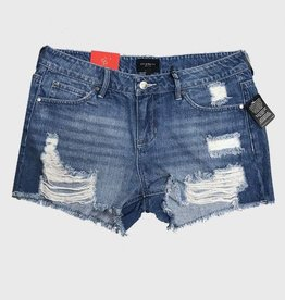 OBJECTS OF DESIRE DISTRESSED DENIM SHORTS