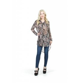 PAPILLON DAMASK GEORGETTE LONG BLOUSE