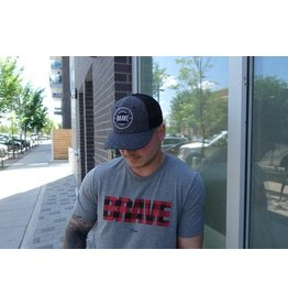 AUTHENTIC BRAVE APPAREL CLASSIC BRAVE TRUCKER HAT - BLACK HERRINGBONE
