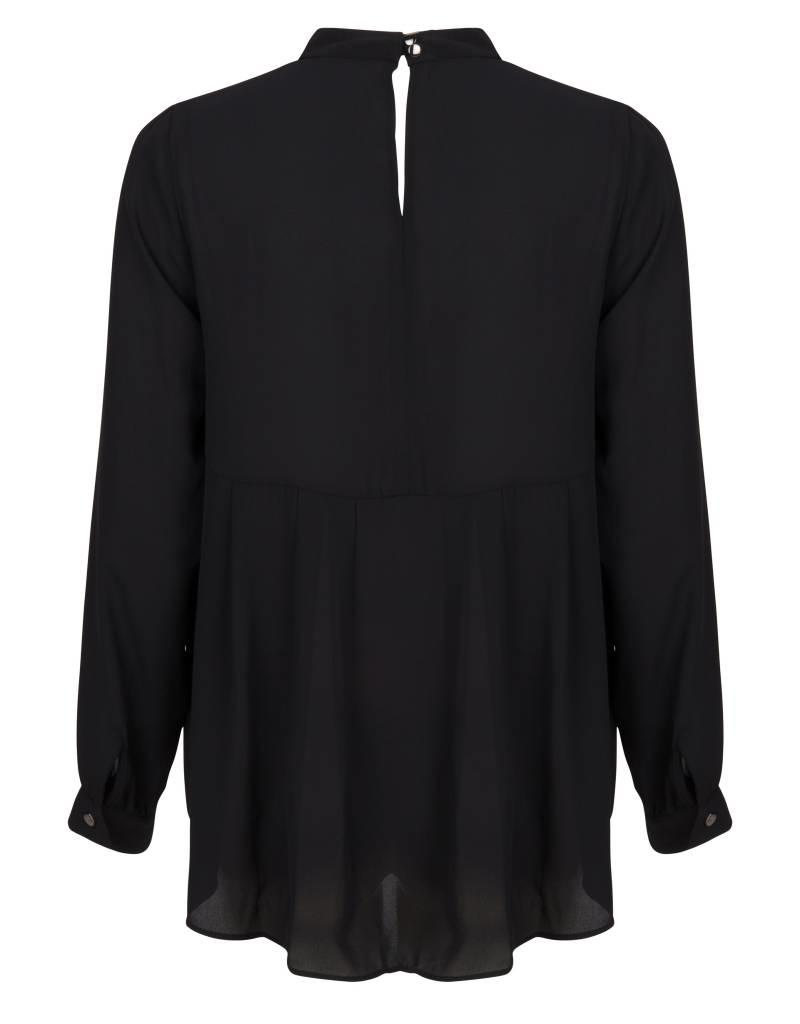 ESQUALO BLACK CHOKER NECK PLEATED BACK BLOUSE