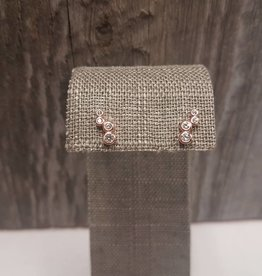STERLING SILVER/ROSE w/ 4 CRYSTAL CIRCLES