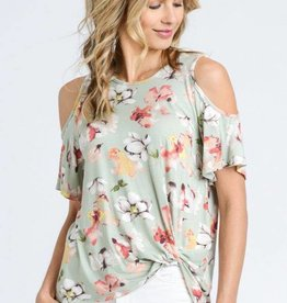 OBJECTS OF DESIRE COLD SHOULDER FLORAL TIE FRONT TOP