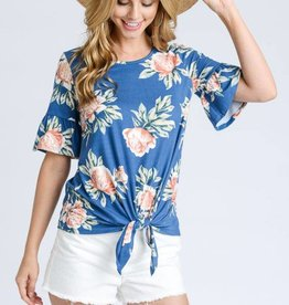 OBJECTS OF DESIRE TIE FRONT RUFFLE S/SLV  TOP