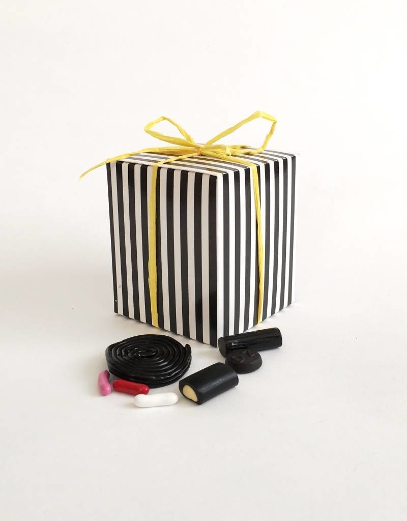 1/2 lb. licorice in a striped gift box assorted