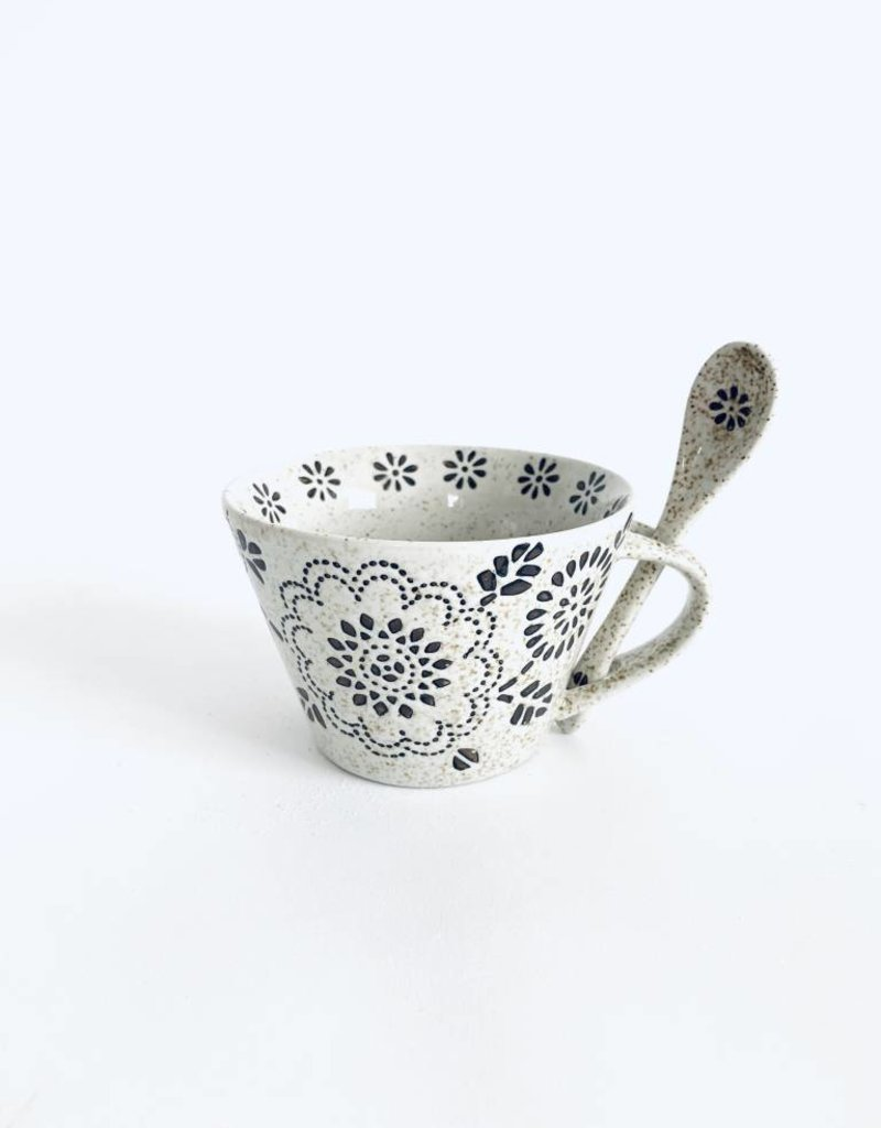 Brown Speckled White Mug w/Spoon